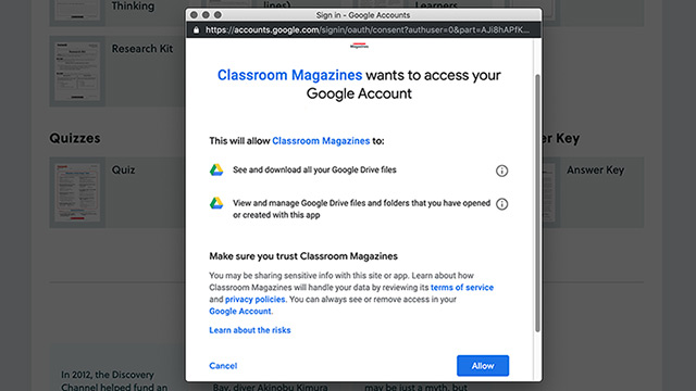 Giving Classroom Magazines access to Google account.